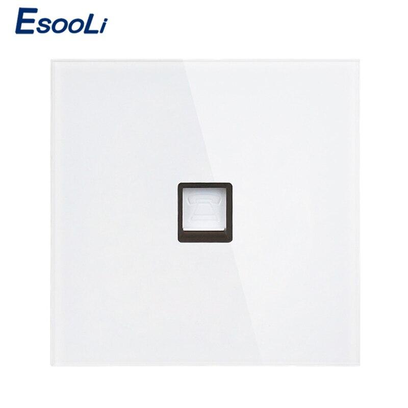 Esooli White Luxury Crystal Tempered Glass Frame Single RJ11 Tel Jack Telephone Socket Outlet Wiring Accessories