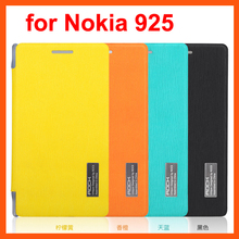 For Nokia Lumia 925 Best Original Rock brand luxury flip leather cover fashion phone case free shipping 4 colors MOQ 1pc best