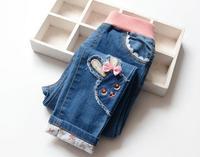 2016, весенне-осенняя детская одежда повседневные джинсовые штаны, с изображением героев мультфильмов джинсы для девочек
