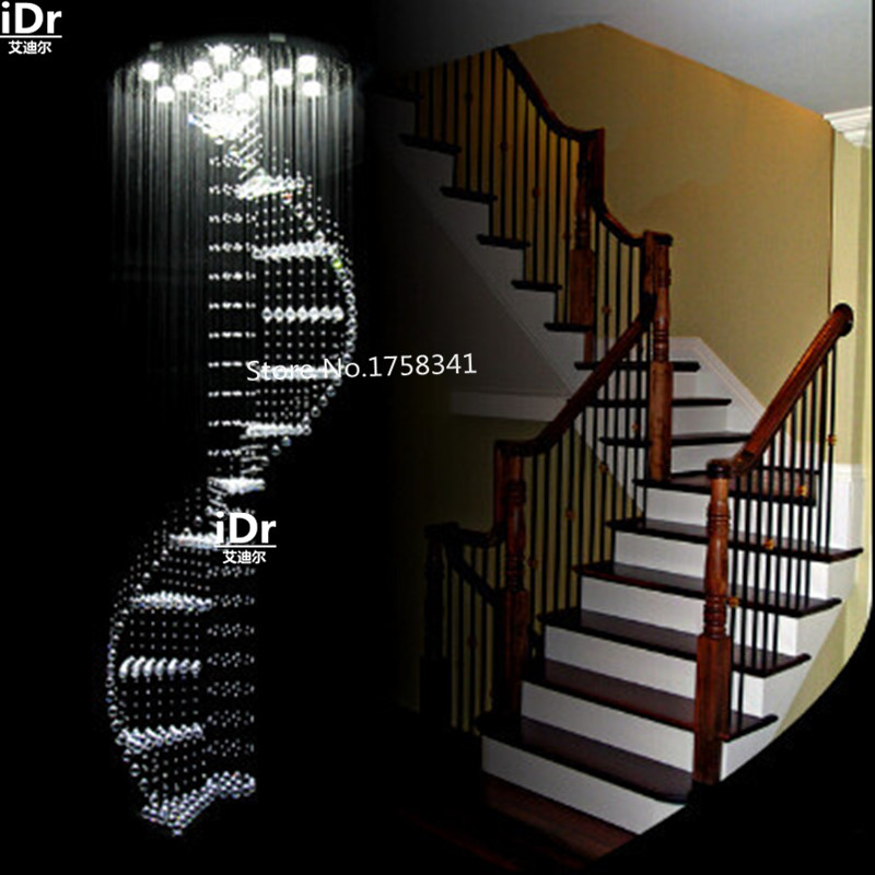 Luxury crystal chandelier long staircase chandelier lamp LED rotating villa penthouse living room staircase lighting ten second staircase