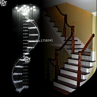 Luxury crystal chandelier long staircase chandelier lamp LED rotating villa penthouse living room staircase lighting