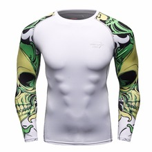 Men MMA Compression Shirts Rashguard Fitness Long Sleeves Base Layer Skin Tight Weight Lifting Men T
