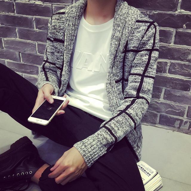Siriusha Moda outono e inverno camisola outerwear masculino turn-down xadrez gola espessamento masculino suéter fino
