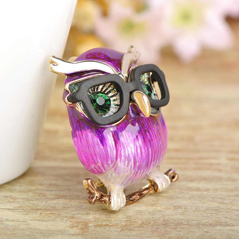 ¡Nuevo estilo! Blucome broche de púrpura de loro, broches de búho de gran barriga para regalo de niños, Collar, suéter, Clips, joyería de pines de colores dorados