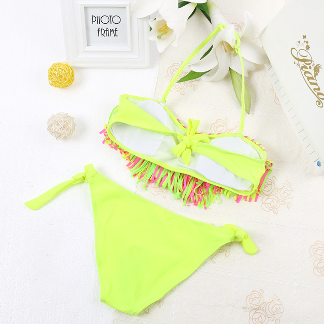tassel girls swimwear swimsuit solid brazilian bikinis 2018 mujer cute children bikini 2018 bandage biquini bathing suit 103
