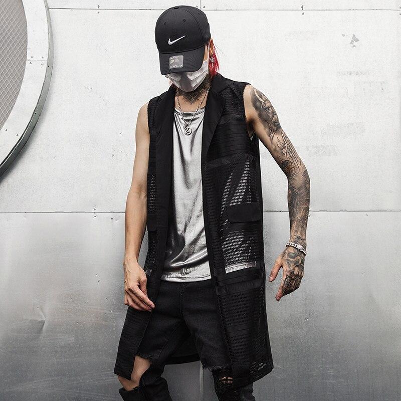 Men Fashion Irregular Shirt Gothic Sleeveless Nightclub Shirt LA