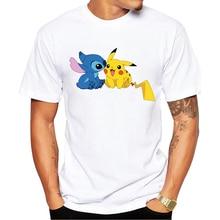 Pokemon Go Men T-shirt Fashion Pikachu Stitch Tops Pikachu In Thor Armor Printed t shirt
