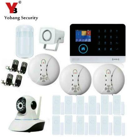 YobangSecurity Wireless IP Camera WIFI GSM GPRS House Burglar Intruder Alarm System Android IOS APP Wireless Strobe Flash Siren цена