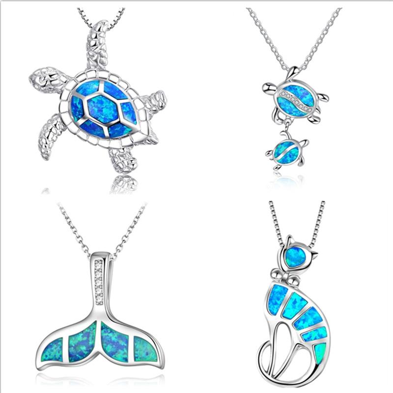 New Fashion Cute Silver Filled Blue Opal Sea Turtle