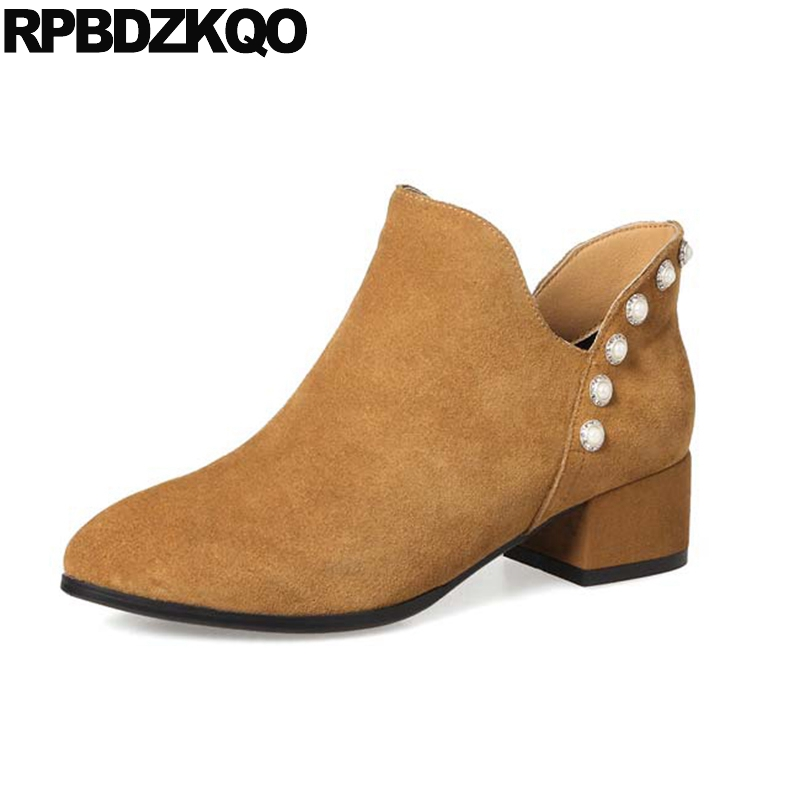 Chunky Suede Short Pearl 2017 Ankle High Heel Pointed Toe Metal Ladies Booties Shoes Side Zip Boots Slip On Brown Fashion Female women ankle boots medium heel genuine leather booties vintage thick suede round toe chunky shoes slip on platform brown fall