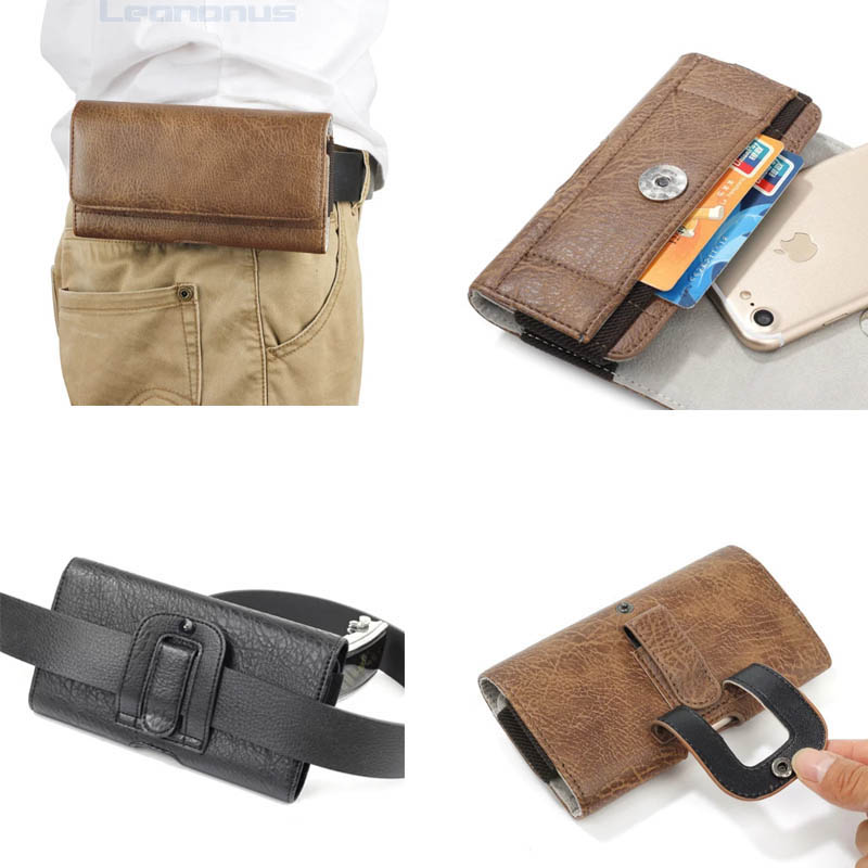 Universal High-end Wallet Cases for iPhone X 8 7 6S Plus Luxury Case Card Slot Belt Holster PU Leather Pouch for Samsung S8 Plus