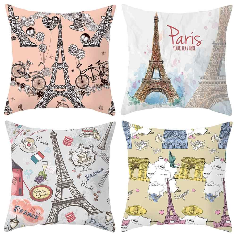 Taoup 1pc 45*45cm European Style Notre Dame de Paris Pillowcase Landscape Peach Skin Happy Birthday Party Decor for Home Custom