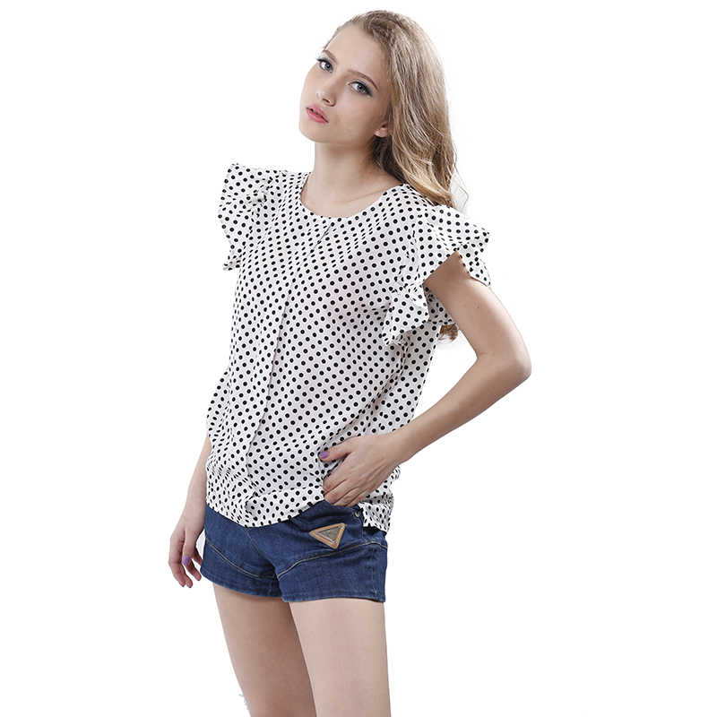 5eed146a0c731 ... Summer Butterfly Sleeve Polka Dot Blouses Fashion O-Neck Women Chiffon  Blouse White Black Color