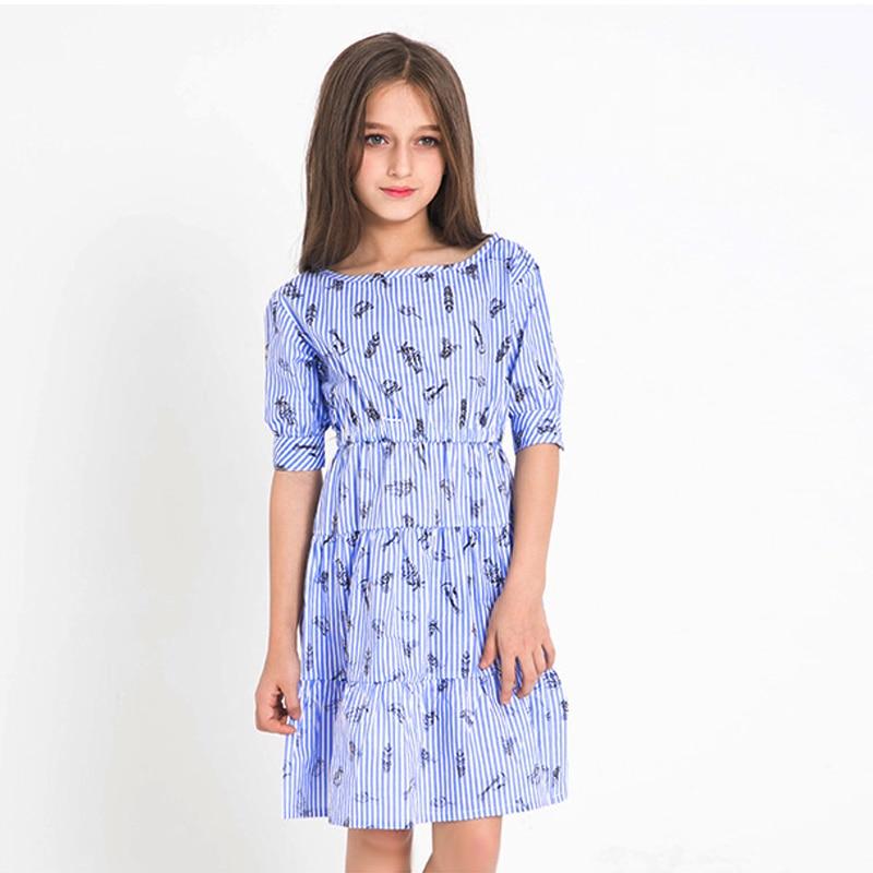 где купить teen girl striped dress little girls dresses summer 2018 big girls clothes teenage clothing size 45678 9 10 11 12 13 14 15 years по лучшей цене