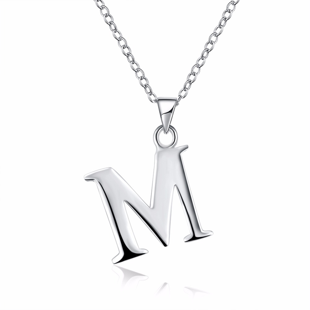 Letter A B C D E F G H I J K L M N O P Q I S T U V W X Y Z Crystal Jewelry Pendant Necklace 925 stamped silver plated Colar Gift