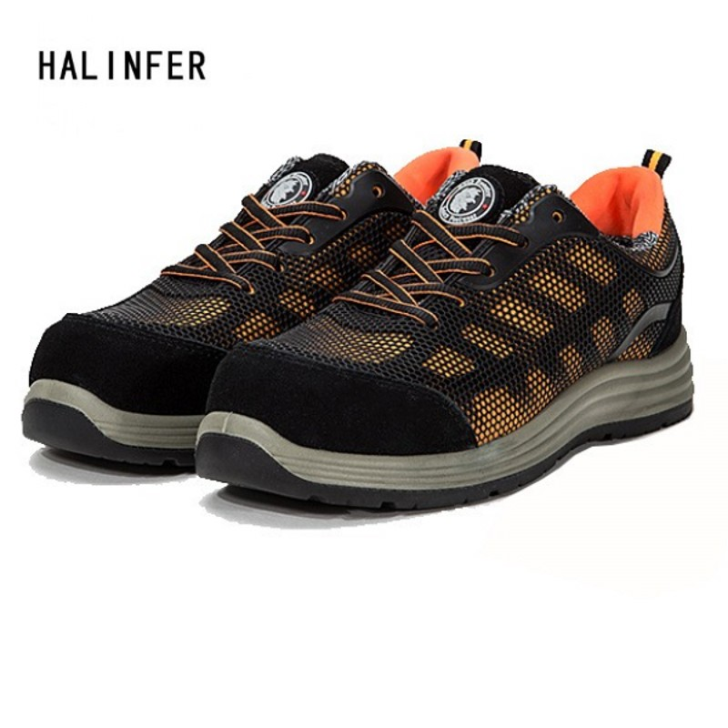HALINFER safety work shoes for men stretch fabric round toe Anti-puncture breathable casual fashion