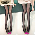 Hot Sale Sexy Black and White Stitching Stealth Thin Slim Tights New Designs Women Stockings Cheap Velvet Cored Wire Pantyhose
