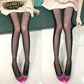 Venda Hot Sexy Preto e Branco Costura Discrição Fina Slim Calças Justas Novos Projetos Das Mulheres Meias Arame tubular Meia-calça De Veludo Barato