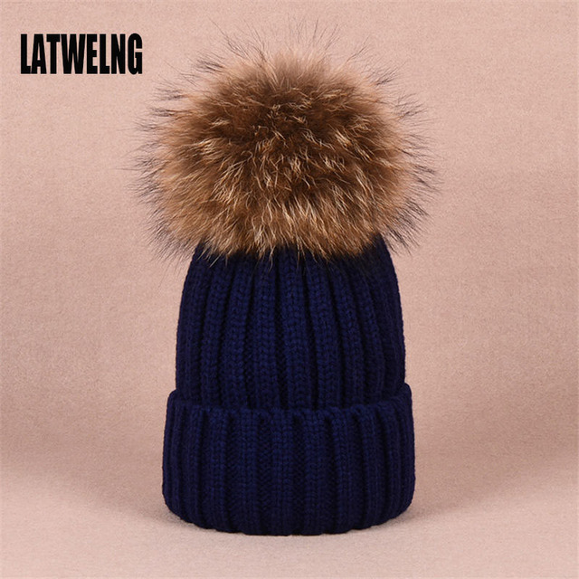 LATWELNG Winter Warm Beanies For Women Hat Girl Casquette Homme Large Pom  Poms Hats Female Woolen Knitted Cap Gorro Gorras Caps b059e6873a6