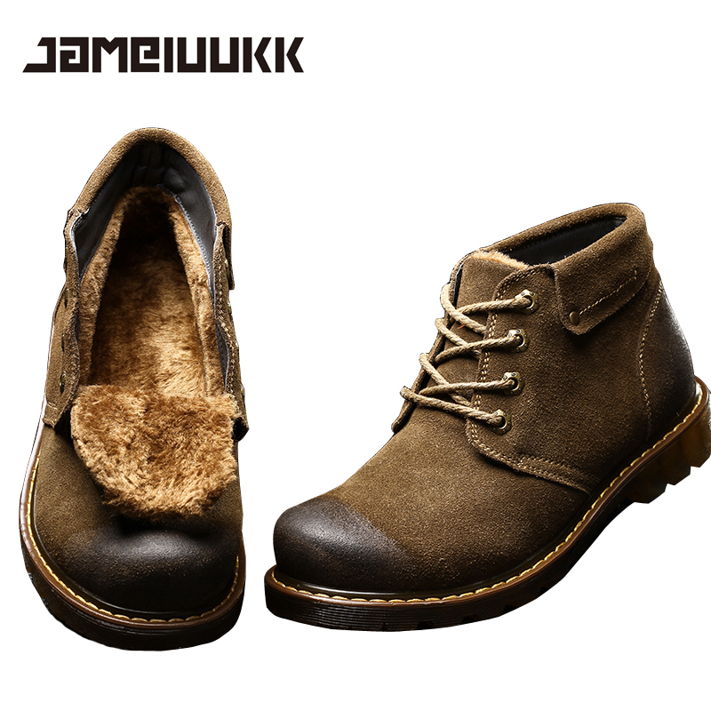 2016 fashion warm Genuine Leather boots comfortable men ...