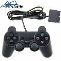 Controlador de juegos para SONY PlayStation PS2 consola Dualshock 2 1,5 M con cable de doble choque negro joystick Gamepad Joypad