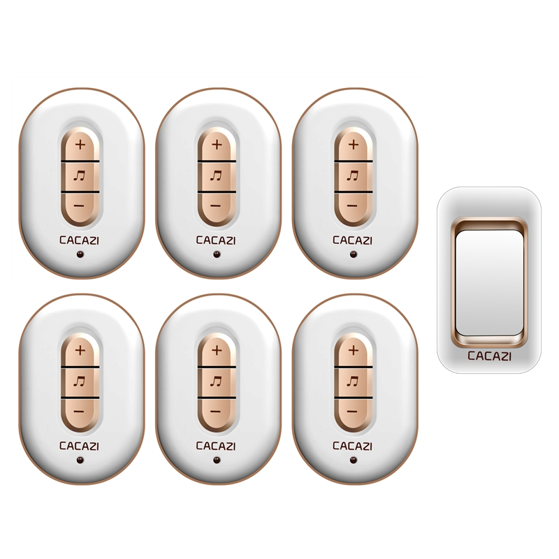 CACAZI AC 110-220V waterproof 300M remote wireless doorbell 1 transmitter+6 receivers with 48 melodies 6 volume door chime cacazi ac 110 220v wireless doorbell 1 transmitter 6 receivers eu us uk plug 300m remote door bell 3 volume 38 rings door chime