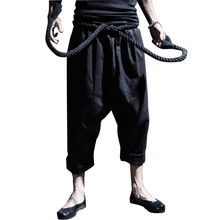 Men Loose Linen Causal Pant Send Rope Belt Street Hiphop Fashion Punk Male Harem Trousers Stage Show Costumes