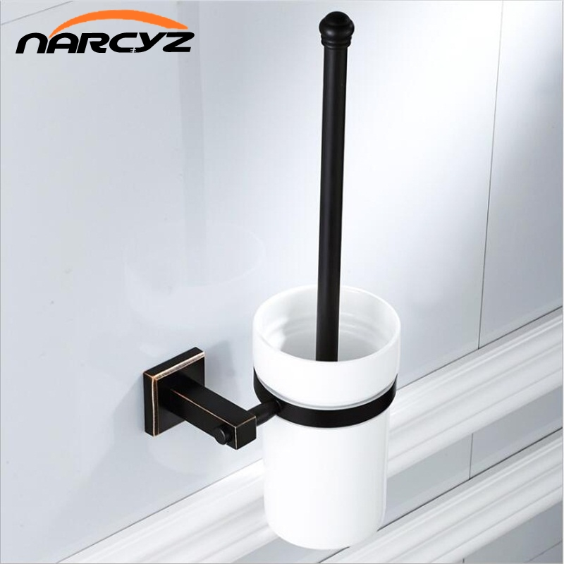 The new copper material black bronze square bathroom hardware pendant toilet brush clean toilet brush ceramic cup 9036K simple bathroom ceramic wash four piece suit cosmetics supply brush cup set gift lo861050