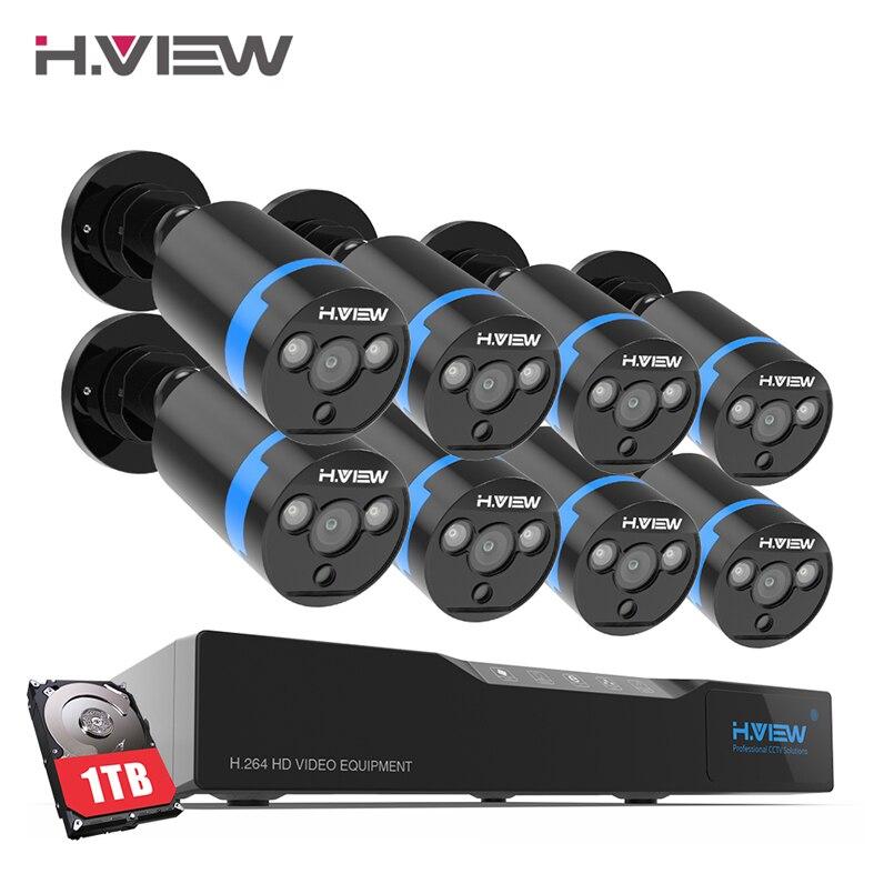 H. View 16CH система видеонаблюдения 8 1080 P наружная камера безопасности 16CH CCTV DVR 1 ТБ HDD комплект видеонаблюдения легко удаленный просмотр