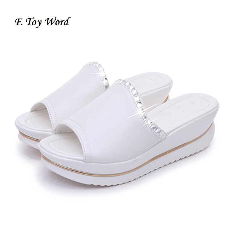 Summer 2017 new leather sandals and slippers women platform sandals shoes wedges platform shoes with comfort in Korea summer new leather sandals and slippers women sandals slope with thick crust outdoor leather lady slippers women s shoes