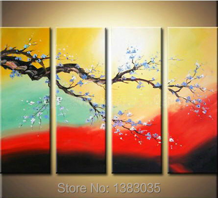 Hand Painted Branch Tree Plum Canvas Flower Oil Painting Modern ...