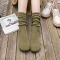 1 Par de Las Mujeres Calcetines de Algodón de Moda Casual de Color Sólido Lindo Caliente Del Invierno del Otoño Calcetines de Estilo Japonés