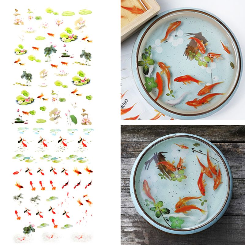 Hot  3D Goldfish Lotus Clear Film Resin Stickers Water-Like Painting Jewelry Making  Gifts
