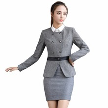 Office uniform female S-4XL formal skirt suits two pieces set for work 2017 new arrival womens winter business suits grey black
