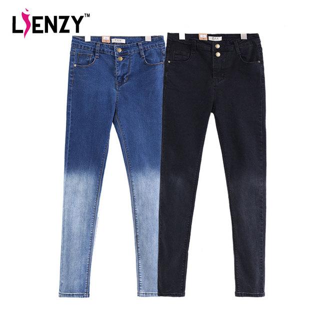 LIENZY 2016 Gradiente de Primavera Lápiz Pantalones Vaqueros de Cintura Alta de Dos Botones Delgado Stretch Mujeres Flacas Larga Pantalones de Mezclilla Negro Para El Verano