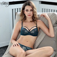 Sexy Ultra Thin Cup Push up Bra Set Lace Seamless Deep V Lingerie Set Woman Transparent Underwear Comfortable Brassiere Set