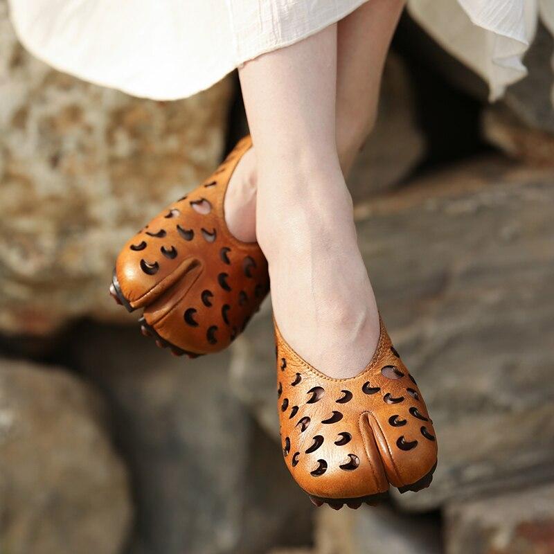 Artdiya 2019 Echt Leer Vrouwen Schoenen Hol Handgemaakte Platte Retro Verhoogde Schoenen 2028 61-in Platte damesschoenen van Schoenen op  Groep 3