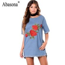 f3d9ba171d Abasona Summer Women Denim Dress Casual Loose Tassel Mini Dresses Femme  Robe Sexy Roses Embroidery Blue Jean Dress For Women