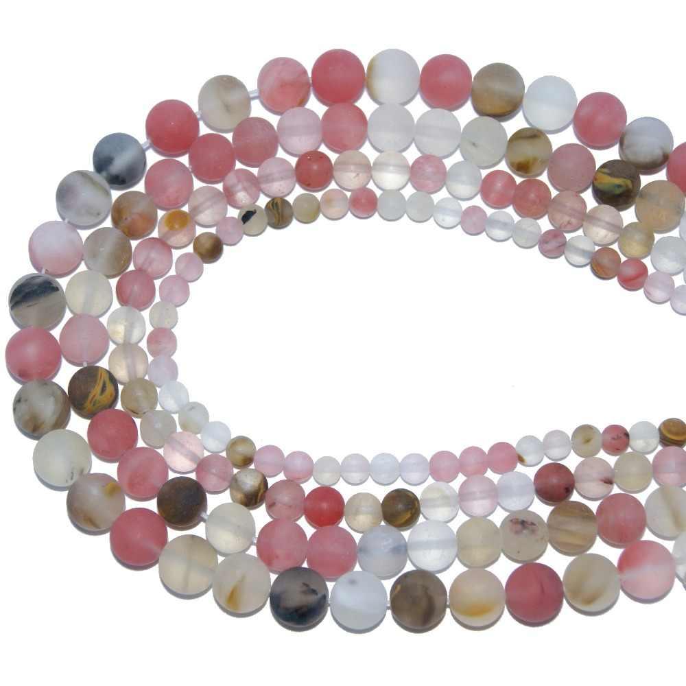 الجملة البليد البولندية ماتي الحجر الطبيعي حبة الجمشت Agates لصنع المجوهرات سوار ذاتي الصنع قلادة 4 6 8 10 مللي متر