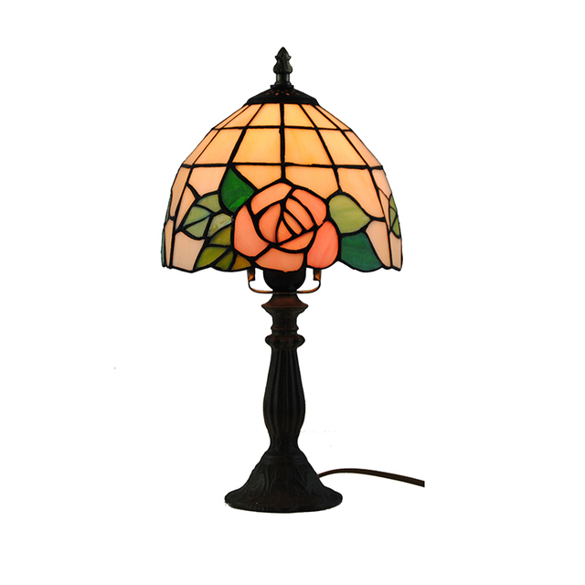 8 European Tiffany Rose Pattern Desk Lamp Retro Stained Glass Table Light Home Decorative Lighting
