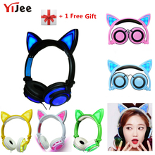 YiJee Cat Ear headphones with LED Flashing Glowing Light Headset Gaming Earphones for PC Computer and