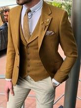 Khaki 3 Pieces Mens Suits Beige Pants Tuxedo Business Plus size 34-60++Custom