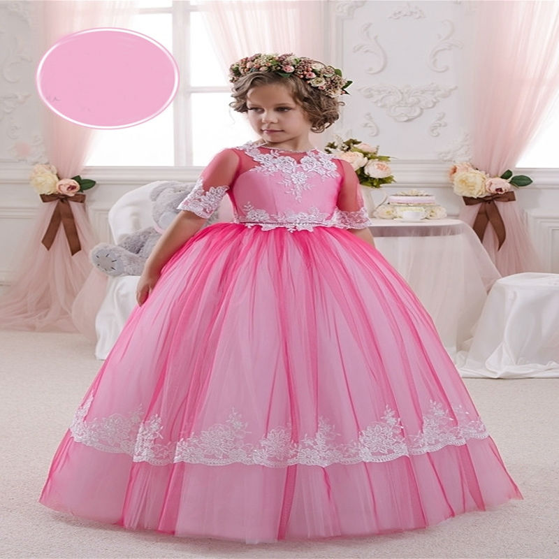 New First Communion Dresses Ball Gown Princess Dress Lace Girls Dresses for Party and Wedding Long Tulle Mother Daughter Dresses