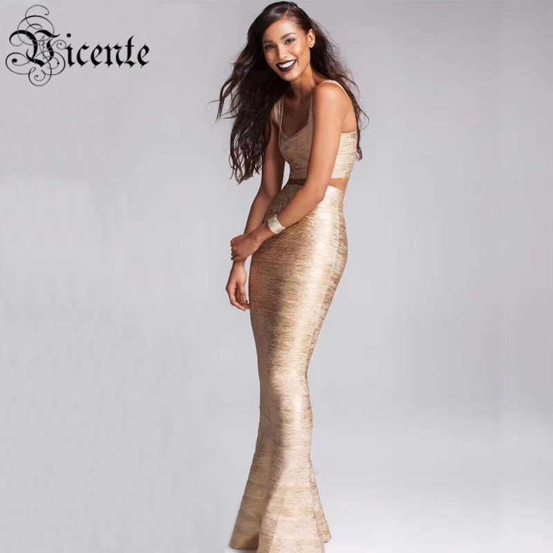 Vicente All Free Shipping 2019 New HOT Luxe Elegant Gold Oil Print Floor Length Gown Two