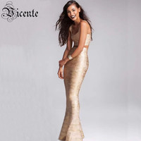 2015 New Free Shipping Luxe Elegant Gold Oil Print Floor Length Gown Two Pieces Celebrity Party