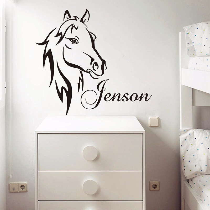 Us 5 97 10 Off Custom Diy Personalized Name Horse Head Wall Sticker Vinyl Art Nursery Decals Home Decor For Kids Rooms In Stickers