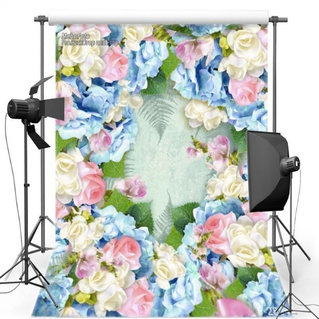 3D Colour Flower Leaves Theme Wall photography studio background ...