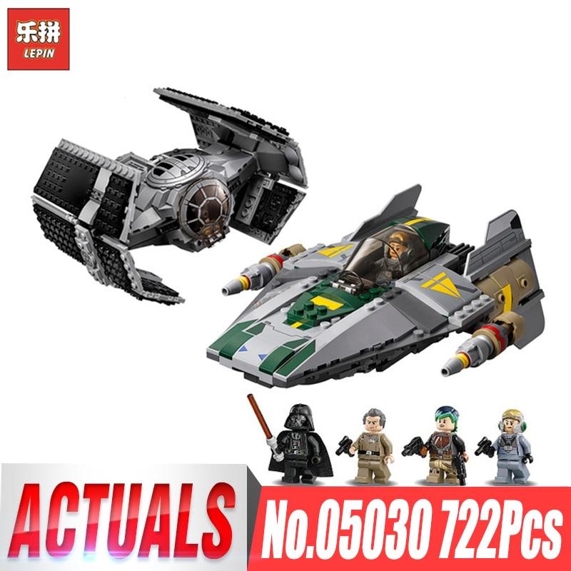 Galleria fotografica Lepin 05030 <font><b>Star</b></font> Vader Tie Advanced VS A-wing Starfighter wars Compatible <font><b>legoing</b></font> 75150 Building Blocks Bricks Children Gifts
