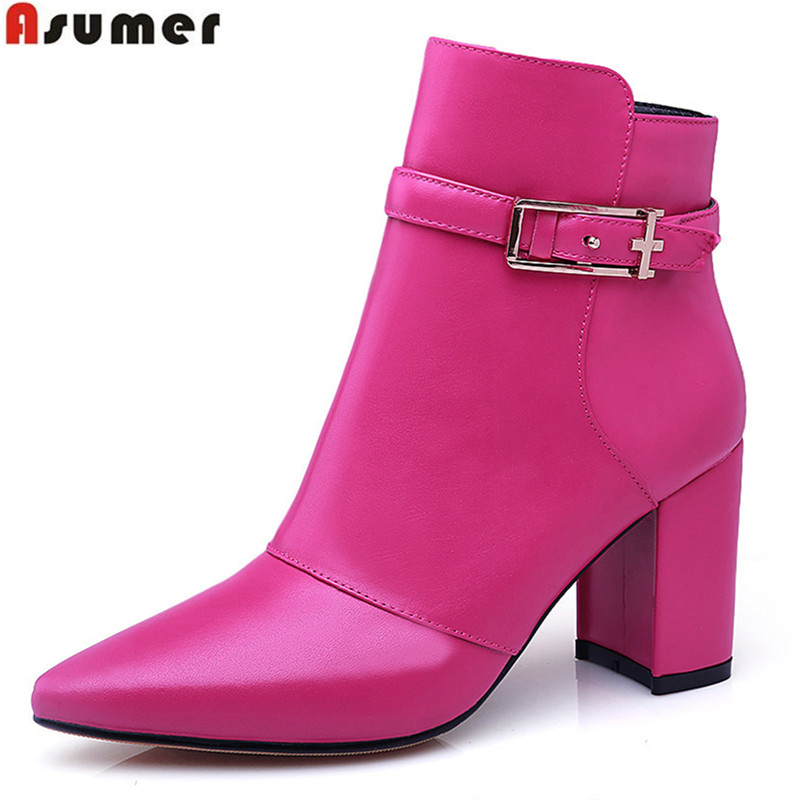 ФОТО new style hot sale autumn spring women ankle boots mature pointed toe genuine leather with zip and buckle ladies boots