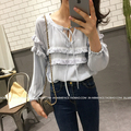 2016 Autumn Women Shirtslt Full Sleeve Low Tassel Elastic Cuffs Dolls Blouse Shirt Khaki White Black 331